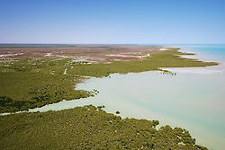 Dense mangrove forests line the shores of Roebuck Bay to the south of Broome.