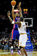 Feb. 9, 2011; Cleveland, OH, USA; Detroit Pistons power forward Charlie Villanueva (31) shoots over Cleveland Cavaliers power forward Antawn Jamison (4) during the fourth quarter at Quicken Loans Arena. The Pistons beat the Cavaliers 103-94 for Cleveland's 26th loss in a row. Mandatory Credit: Jason Miller-US PRESSWIRE