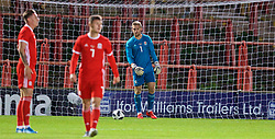 WREXHAM, WALES - Tuesday, September 10, 2019: Wales' goalkeeper George Ratcliffe looks dejected as Germany score the fifth goal during the UEFA Under-21 Championship Italy 2019 Qualifying Group 9 match between Wales and Germany at the Racecourse Ground. (Pic by David Rawcliffe/Propaganda)