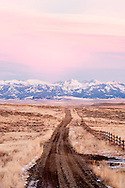 Country road, Crazy Mountains, north of Wilsall, Montana