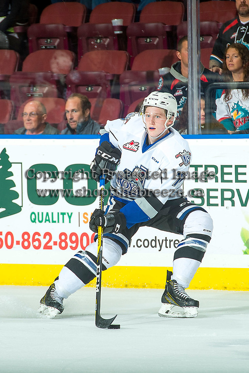 KELOWNA, CANADA - OCTOBER 4: Scott Walford #7 of the Victoria Royals skates with the puck against the Kelowna Rockets on October 4, 2017 at Prospera Place in Kelowna, British Columbia, Canada.  (Photo by Marissa Baecker/Shoot the Breeze)  *** Local Caption ***