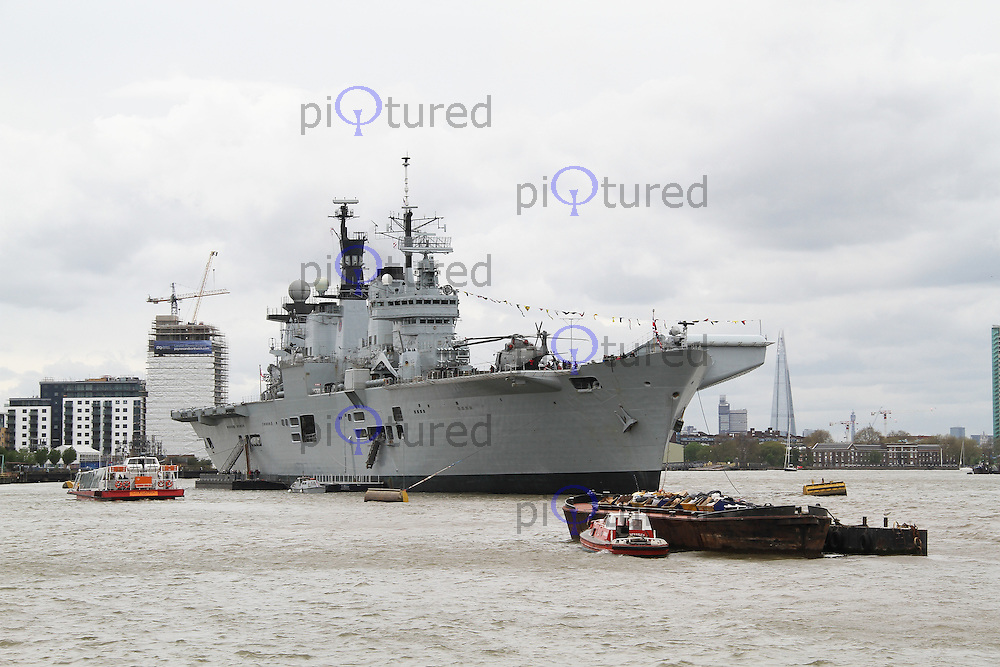 On board HMS Illustrious Royal Navy helicopter and commando carrier, 70th anniversary of the Battle of the Atlantic, Greenwich London UK, 11 May 2013, (Photo by Richard Goldschmidt)