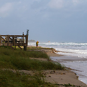 Strong winds from the East and higher tidal level cause beach erosion in Palm Beach County. The waves were hitting hard in Ocean Ridge causing some coastal flooding. <br /> Photography by Jose More
