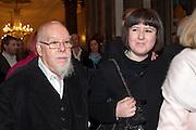 SIR PETER BLAKE; ROSE BLAKE, Opening of David Hockney ' A Bigger Picture' Royal Academy. Piccadilly. London. 17 January 2012