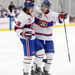TORONTO, ON - Mar 31 : Ontario Junior Hockey League, Toronto Patriots v Toronto Jr. Canadiens, SouthWest Championship Series, Game 3. Anthony Repaci 78 of the Toronto Jr. Canadiens Hockey Club celebrates the goal celebrates the goal with his teammate Matthew Ferrari #3 during the first period. <br /> (photo by Jay Johnston / OJHL Images)