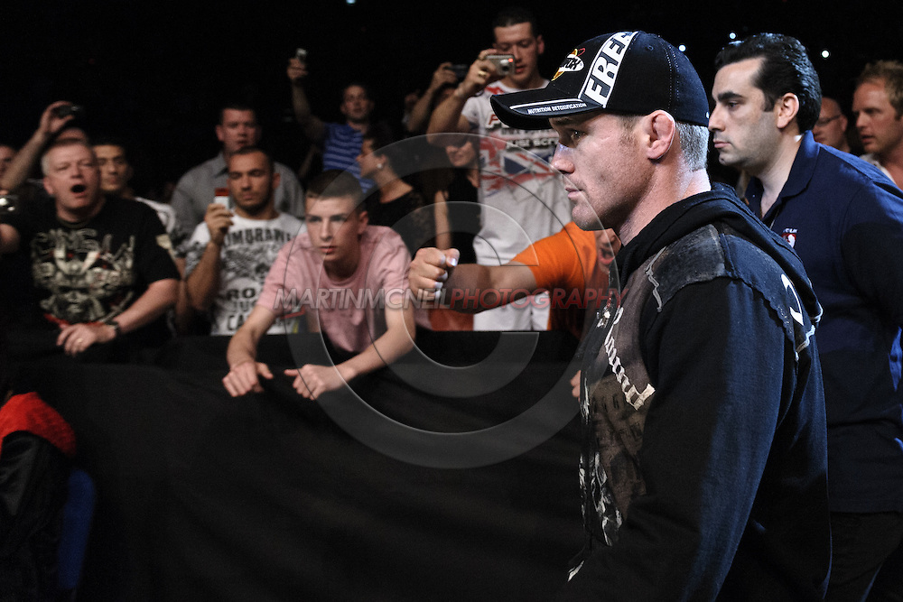 """LONDON, ENGLAND, JUNE 7, 2008: Matt Hughes enters the arena during """"UFC 85: Bedlam"""" inside the O2 Arena in Greenwich, London on June 7, 2008."""