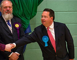Haddington & Lammermuir by-election count. Haddington, East Lothian, Scotland, United Kingdom, 10 May 2019. Pictured: Craig Hoy, Scottish Conservative and Unionist Party winning candidate with over 2,000 votes, and David Sission, UKIP candidate. The election takes place of one councillor in Ward 5 of East Lothian Council due to the resignation of Councillor Brian Small. The successful candidate represents this ward along with the three existing councillors. The by-election uses the Single Transferable Vote (STV) system in which voters can rank candidates in order of preference and can choose to vote for as many or as few candidates as they like. The election fields 5 candidates from Scottish National Party (SNP), Scottish Labour Party, Scottish Conservatives and Unionist Party, Scottish Liberal Democrats and UK Independence Party (UKIP).<br /> <br /> Sally Anderson | EdinburghElitemedia.co.uk