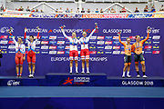 Podium, Women Madison, Amalie Dideriksen - Julie Leth (Denmark) Gold medal, Gulnaz Badykova - Diana Klimova (Russian Federation) silver medal, Amy Pieters- Kristen Wild (Netherlands) bronze medal, during the Track Cycling European Championships Glasgow 2018, at Sir Chris Hoy Velodrome, in Glasgow, Great Britain, Day 6, on August 7, 2018 - Photo luca Bettini / BettiniPhoto / ProSportsImages / DPPI<br /> - Restriction / Netherlands out, Belgium out, Spain out, Italy out -