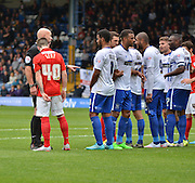 the referee organises the wall making sure its ten yards back during the Sky Bet League 1 match between Bury and Coventry City at Gigg Lane, Bury, England on 26 September 2015. Photo by Mark Pollitt.