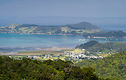 High-angle view of Coromandel from the Manaia Road on the Coromandel Peninsula, New Zealand