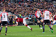 July 15 2017: Arsenal player Olivier Giroud (12) gets the ball away at the International soccer match between English Premier League giants Arsenal and A-League team Western Sydney Wanderers at ANZ Stadium in Sydney.