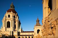 Moon Over City Hall at Sunrise, Pasadena, California