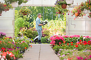 Side view of gardener carrying crate with flower pots while walking outside greenhouse