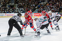 KELOWNA, CANADA - FEBRUARY 5: Dillon Dube #19 of Kelowna Rockets faces off against Preston Kopeck #27 of Spokane Chiefs on February 5, 2016 at Prospera Place in Kelowna, British Columbia, Canada.  (Photo by Marissa Baecker/Shoot the Breeze)  *** Local Caption *** Preston Kopeck; Dillon Dube;