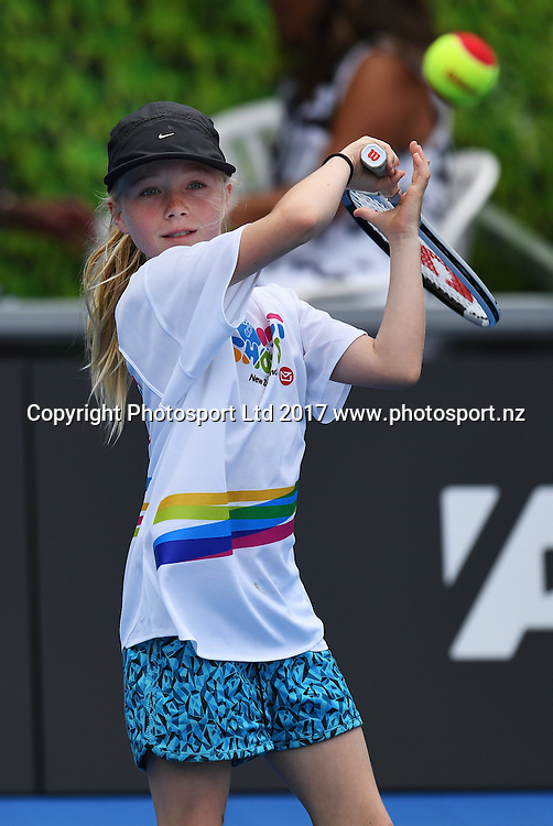 Tennis NZ hotshots activation on centre court ahead of day 2 at the ASB Classic. WTA Womens Tournament. ASB Tennis Centre, Auckland, New Zealand. Tuesday 3 January 2017. © Copyright photo: Andrew Cornaga / www.photosport.nz