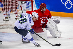 16-02-2018 KOR: Olympic Games day 7, PyeongChang<br /> Ice Hockey Russia (OAR) - Slovenia / goaltender Vasili Koshechkin #83 of Olympic Athlete from Russia, forward Ken Ograjensek #18 of Slovenia