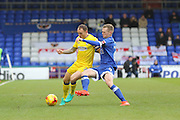 AFC Wimbledon defender & captain Barry Fuller (2) and Oldham Athletic striker Billy McKay (9) battles for possession during the EFL Sky Bet League 1 match between Oldham Athletic and AFC Wimbledon at Boundary Park, Oldham, England on 12 November 2016. Photo by Stuart Butcher.