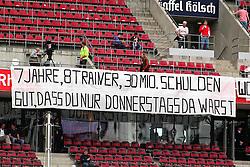 """14.05.2010,  Rhein Energie Stadion, Koeln, GER, 1.FBL, FC Koeln vs Schalke 04, 34. Spieltag, im Bild: FC Fans haben ein Plakat aufgehangen. """"7 Jahre , 8 Trainer, 30 Mio. Schulden - Gut dass du nur Donnerstag da warst"""" als Kritik am Vorstand  EXPA Pictures © 2011, PhotoCredit: EXPA/ nph/  Mueller       ****** out of GER / SWE / CRO  / BEL ******"""