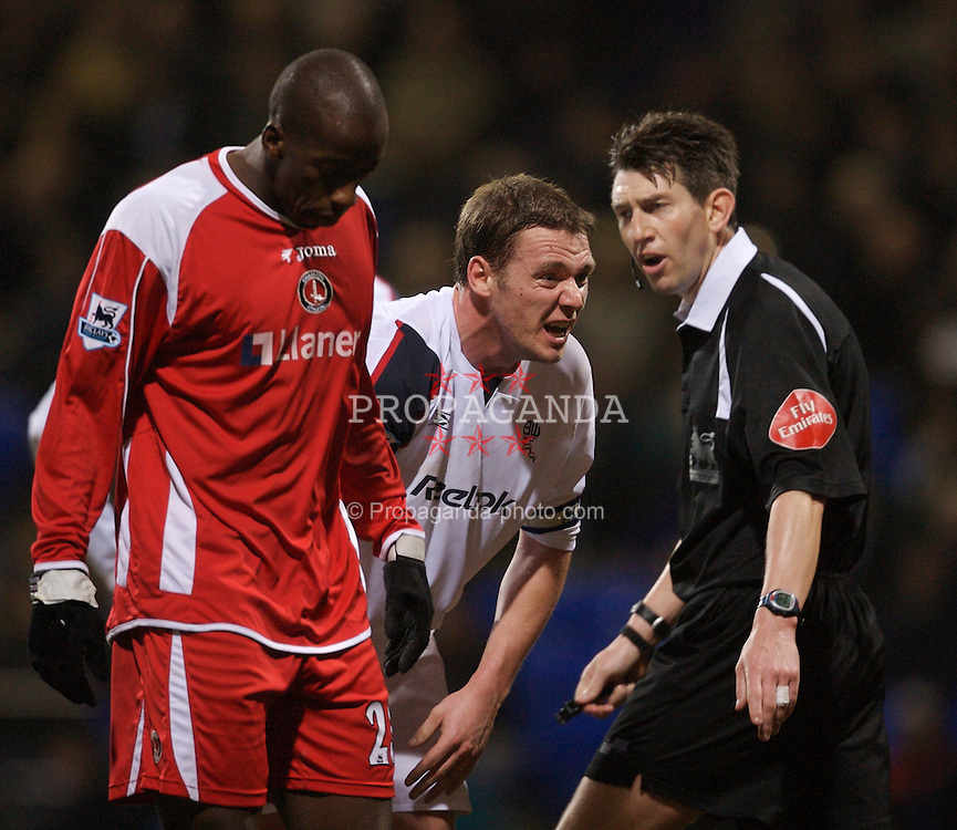 Bolton, England - Wednesday, January 31, 2007: Bolton Wanderers' Kevin Nolan can't believe that no penalty was awarded by referee  L. Probert  against Charlton Athletic during the Premiership match at the Reebok Stadium. (Pic by David Rawcliffe/Propaganda)