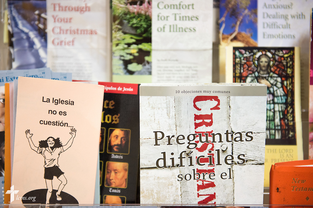 Pamphlets in English and Spanish lay on the shelves Sunday, Nov. 22, 2015, at Salem Lutheran Church in Springdale, Ark. LCMS Communications/Erik M. Lunsford