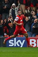 Gianvito Plasmati of Leyton Orient celebrates scoring the opening goal against Crewe Alexandra during the Sky Bet League 1 match at the Matchroom Stadium, London<br /> Picture by David Horn/Focus Images Ltd +44 7545 970036<br /> 22/11/2014