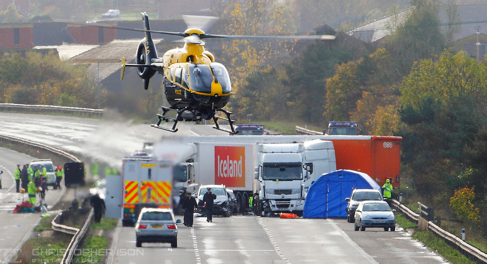 A general view of the scene at the multiple fatal crash on the M5 motorway close to Taunton in Somerset.