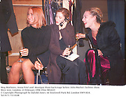 Meg Mathews, Anna Friel and  Monique Hunt backstage before John Rocha's fashion show. West tent. London. 23 February 1998. Film 9852f25<br />
