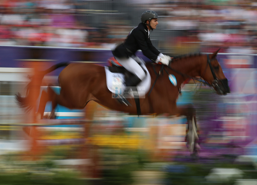 Christopher Patte of France competes during the riding portion of the men's modern pentathlon during day 15 of the London Olympic Games in London, England, United Kingdom on August 11, 2012..(Jed Jacobsohn/for The New York Times)..