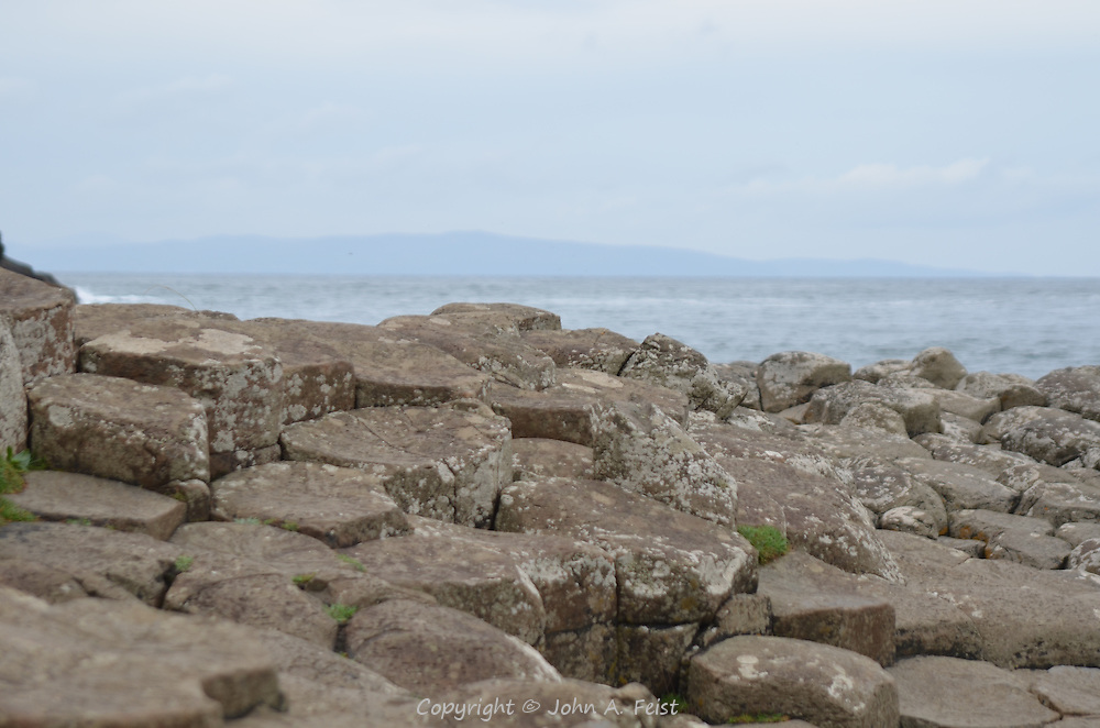 The Giant's Causeway as it heads into the sea.  County Antrim, Northern Ireland.