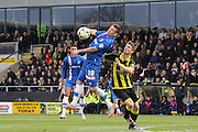 Gillingham forward Cody McDonald controls the ball with his chest during the Sky Bet League 1 match between Burton Albion and Gillingham at the Pirelli Stadium, Burton upon Trent, England on 30 April 2016. Photo by Aaron  Lupton.
