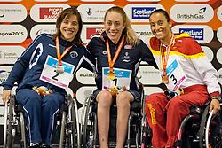 PEZARO Inbal, RUNG Sarah Louise, PERALES Teresa ISR, NOR, ESP at 2015 IPC Swimming World Championships -  Women's 200m Individual Medley SM5