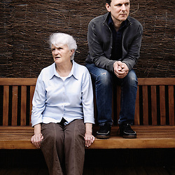 """Director Michel Gondry, here with his aunt Suzette, presenting his movie """"The Thorn in the Heart"""" at the Cannes Film Festival (here at the Unifrance Terrasse). France. 15 May 2009. Photo: Antoine Doyen"""