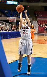 Parkersburg South guard Breaunna Haynes (22) shoots layup against Martinsburg during a first round game at the Charleston Civic Center.