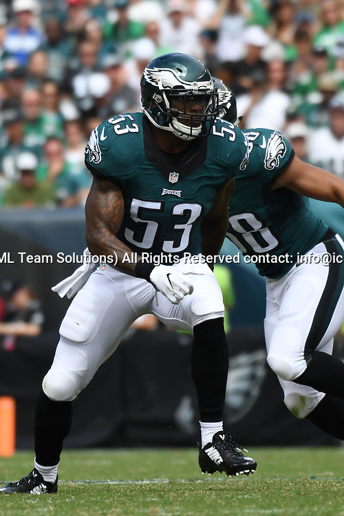 September 11, 2016: Philadelphia Eagles Linebacker Nigel Bradham (53) [17654] during a National  Football League game between the Cleveland Browns and the Philadelphia Eagles at Lincoln Financial Field in Philadelphia, PA. (Photo by Andy Lewis/Icon Sportswire)