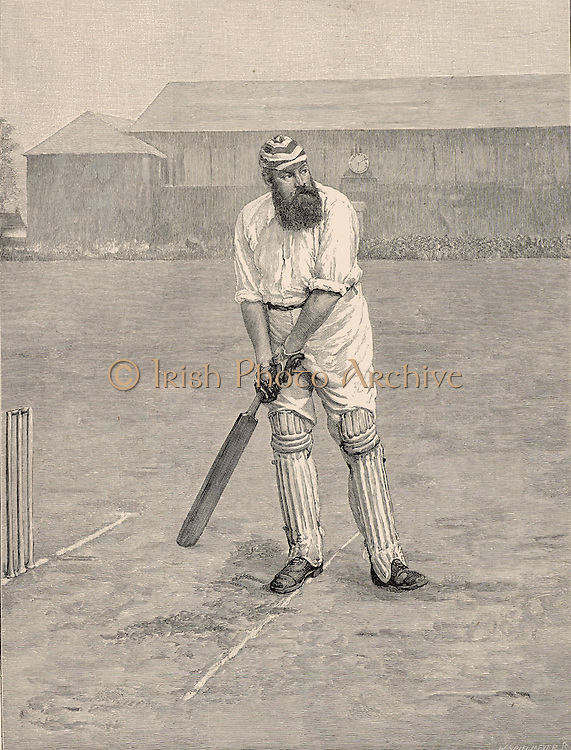 William Gilbert ('W G') Grace (1848-1915) English first-class cricketer and physician, born at Downend near Bristol.  Grace at the crease ready to receive a ball from the bowler.  His career lasted from 1864-1908.  Engraving from 'The English Illustrated Magazine' (London, 1890).