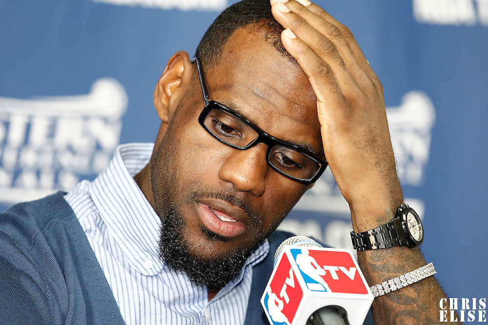 01 June 2012: Miami Heat small forward LeBron James is seen during the press conference following the Boston Celtics 101-91 victory over the Miami Heat, in Game 3 of the Eastern Conference Finals playoff series, at the TD Banknorth Garden, Boston, Massachusetts, USA.