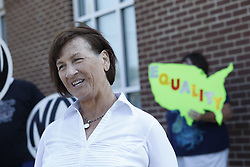 Mary Hargis with the Rowan County Rights Coalition held a rally outside the Rowan County Courthouse in protest of Kim Davis' boycott on issuing marriage licenses, Saturday, Aug. 29, 2015 in Morehead. Photo by Jonathan Palmer/Special for the C-J