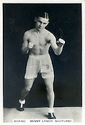 Amazing images of Britain's best boxers from the 1920's<br /> <br /> From the 1920s up until World War 2 cigarette companies, sporting magazines and boys' weeklies included real photo cards of sports stars to collect and swap. These photos of British boxers come from magazines like The Champion, The Magnet and Boy's Friend and cigarette companies such as Senior Service and Ogdens.<br /> <br /> Photo shows: Benny Lynch. Born in Glasgow's notorious Gorbals district in 1913, Benny Lynch may have only been a flyweight but experts consider him one of the greatest British boxers of all time. His two round demolition of another great British flyweight, Jackie Brown, in 1935 was a classic. The next year he outpointed Small Montana from the Philippines to become World Champion. Sadly, he had trouble with alcohol and from malnutrition in 1946, aged only 33.<br /> ©One mans treasure/Exclusivepix Media