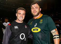 George Ford of England with Duane Vermeulen of South Africa- Mandatory by-line: Steve Haag/JMP - 23/06/2018 - RUGBY - DHL Newlands Stadium - Cape Town, South Africa - South Africa v England 3rd Test Match, South Africa Tour
