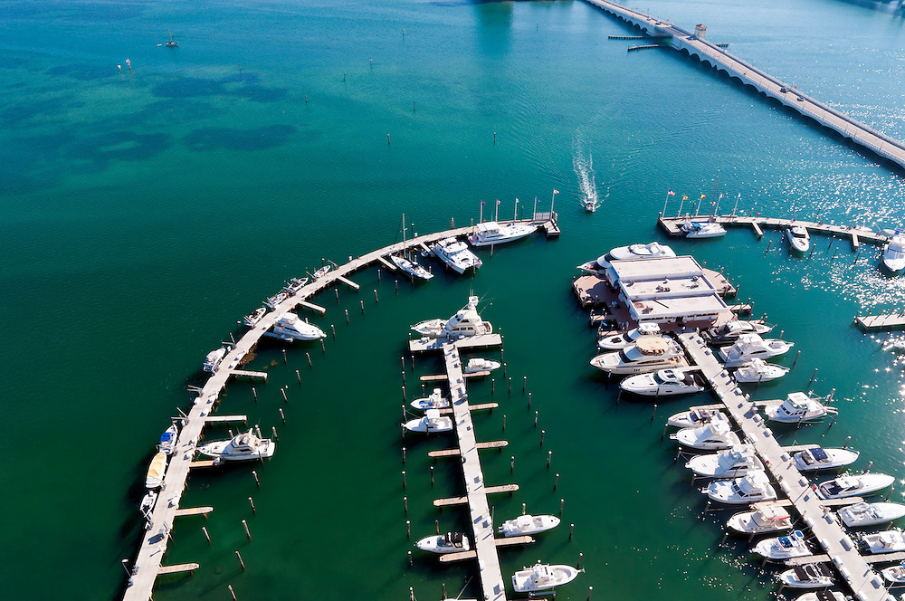 Aerial View  of Marina with boats in Biscayne Bay, Miami.