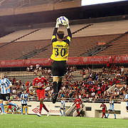 Goalkeeper Kyle Polak (30) makes a save during a United Soccer League Pro soccer match between the Wilmington Hammerheads and the Orlando City Lions at the Florida Citrus Bowl on June 18, 2011 in Orlando, Florida.  (AP Photo/Alex Menendez)