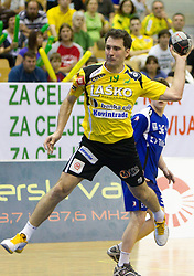 Petar Metlicic of Celje during handball match between RK Celje Pivovarna Lasko and Trimo Trebnje of last Round of 1st Slovenian Handball league, on May 27, 2011 in Arena Zlatorog, Celje, Slovenia. Celje defeated Trimo 32-28 and win 3rd place in Slovenian National Championship. (Photo By Vid Ponikvar / Sportida.com)