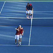 2016 U.S. Open - Day 11  Jamie Murray of United Kingdom and Bruno Soares of Brazil celebrate victory against Pablo Carreno Busta of Spain and Guillermo Garcia-Lopez of Spain in the Men's Doubles Semifinal match on day eleven of the 2016 US Open Tennis Tournament at the USTA Billie Jean King National Tennis Center on September 8, 2016 in Flushing, Queens, New York City.  (Photo by Tim Clayton/Corbis via Getty Images)