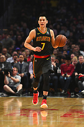 January 28, 2019 - Los Angeles, CA, U.S. - LOS ANGELES, CA - JANUARY 28: Atlanta Hawks Guard Jeremy Lin (7) dribbles up the court during a NBA game between the Atlanta Hawks and the Los Angeles Clippers on January 28, 2019 at STAPLES Center in Los Angeles, CA. (Photo by Brian Rothmuller/Icon Sportswire) (Credit Image: © Brian Rothmuller/Icon SMI via ZUMA Press)