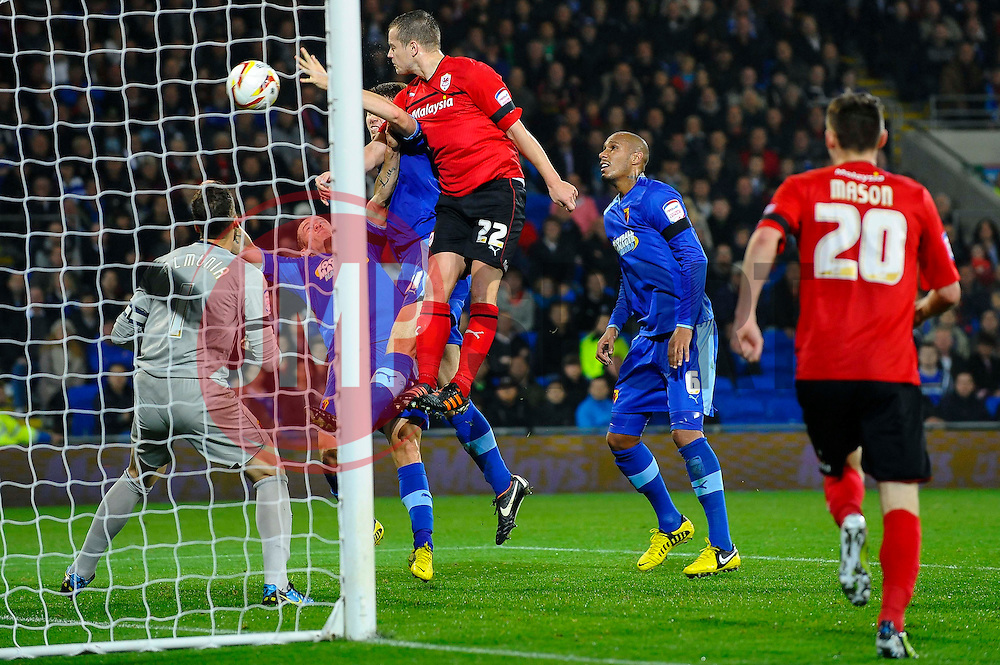 Cardiff Forward Heioar Helguson (ISL) heads wide during the second half of the match - Photo mandatory by-line: Rogan Thomson/JMP - Tel: Mobile: 07966 386802 23/10/2012 - SPORT - FOOTBALL - Cardiff City Stadium - Cardiff. Cardiff City v Watford - Football League Championship