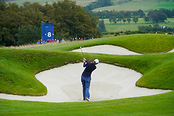 Auchterarder, Scotland, UK. 12 September 2019. Final practice day at 2019 Solheim Cup on Centenary Course at Gleneagles. Pictured; Brittany Altomare plays out of bunker towards the 8th green. Iain Masterton/Alamy Live News