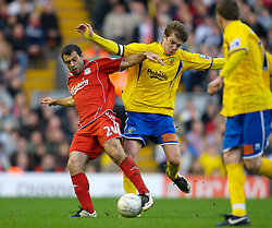 LIVERPOOL, ENGLAND - Saturday, January 26, 2008: Liverpool's Javier Mascherano and Havant and Waterlooville's Jamie Collins during the FA Cup 4th Round match at Anfield. (Photo by David Rawcliffe/Propaganda)