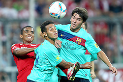 27.07.2011, Allianz Arena, Muenchen, GER, Audi Cup 2011, Finale,  FC Barcelona vs FC Bayern , im Bild Luiz Gustavo (Bayern #30) kaempft mit Gabriel Milito (Barcelona #18) und Adriano (Barcelona #21)  // during the Audi Cup 2011,  FC Barcelona vs FC Bayern  , on 2011/07/27, Allianz Arena, Munich, Germany, EXPA Pictures © 2011, PhotoCredit: EXPA/ nph/  Straubmeier       ****** out of GER / CRO  / BEL ******