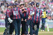 Rory Kleinveldt and Northants celebrate during the NatWest T20 Blast semi final match between Northamptonshire County Cricket Club and Warwickshire County Cricket Club at Edgbaston, Birmingham, United Kingdom on 29 August 2015. Photo by David Vokes.