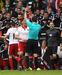 Sheffield United's Chris Morgan is jokingly given a red card by referee Andrew Madley - Mandatory by-line: Robbie Stephenson/JMP - 26/07/2015 - SPORT - FOOTBALL - Sheffield,England - Bramall Lane - Sheffield United v Newcastle United - Pre-Season Friendly